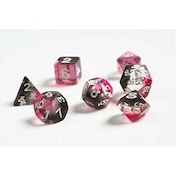 Pink, Clear, Black Resin Polyhedral Dice Set