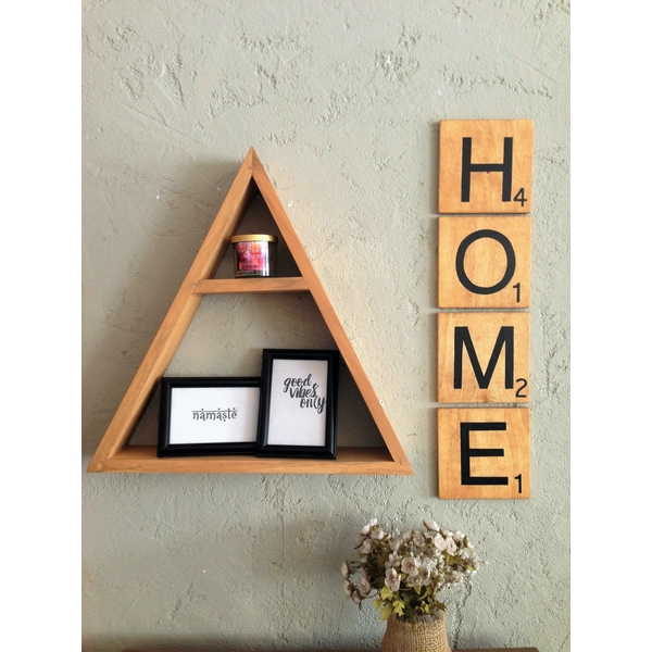 Scrabble Home  Brown Decorative Wooden Wall Accessory