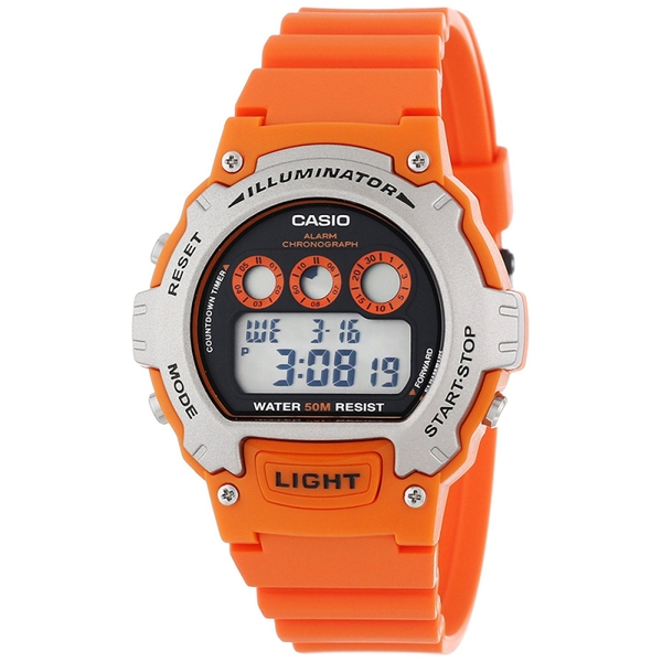 Casio W-214H-4AVEF Illuminator Sports Digital Chrongraph Watch - Orange
