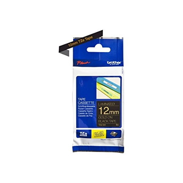 Brother TZe-334 Labelling Tape Cassette, 12 mm (W) x 8 m (L), Laminated, Brother Genuine Supplies - Gold on Black