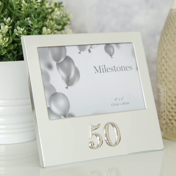 """6"""" x 4"""" - Milestones Birthday Frame with 3D Number - 50"""
