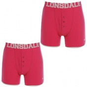 Lonsdale 2 Pack Mens Boxers Pink & White Medium
