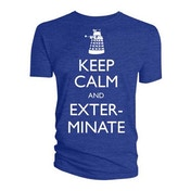 Doctor Who - Keep Calm & Exterminate Men's X-Large T-Shirt - Blue