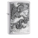 Zippo Eagle vs. Snake Brushed Chrome Finish Windproof Lighter