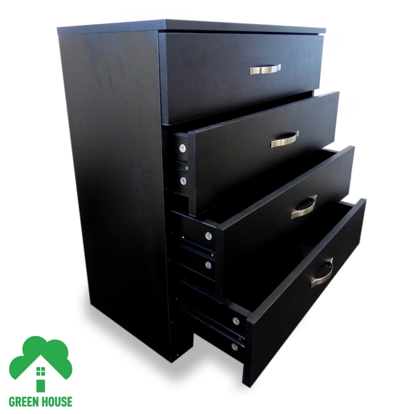 4 Chest Of Drawers Black Bedside Cabinet Dressing Table Bedroom Furniture Wooden Green House - Image 2