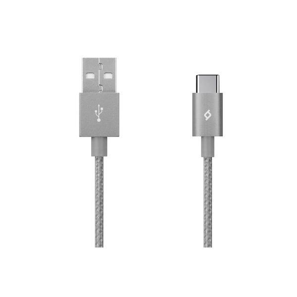 TTEC AlumiCable 1.2m Type-C 2.0 to USB Data and Charging Cable - Grey