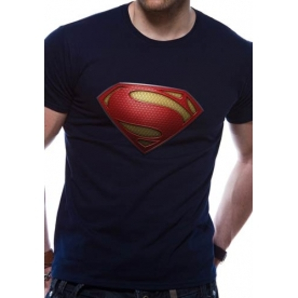 Superman Man Of Steel Textured Logo DC Essentials Range T-Shirt Large