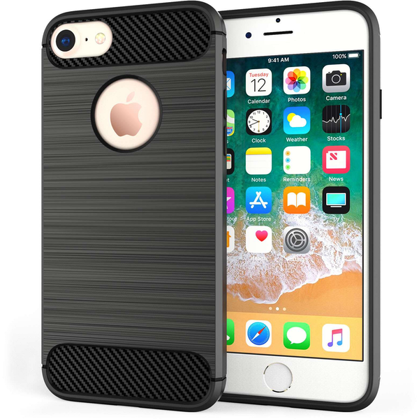 Apple iPhone 8 Carbon Fibre Textured Gel Cover - Black