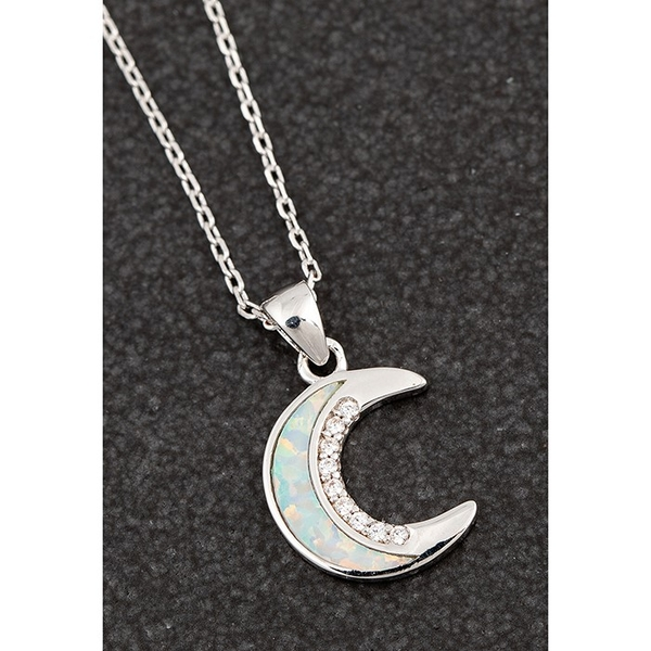 Opalescent Moon Platinum Plated Necklace