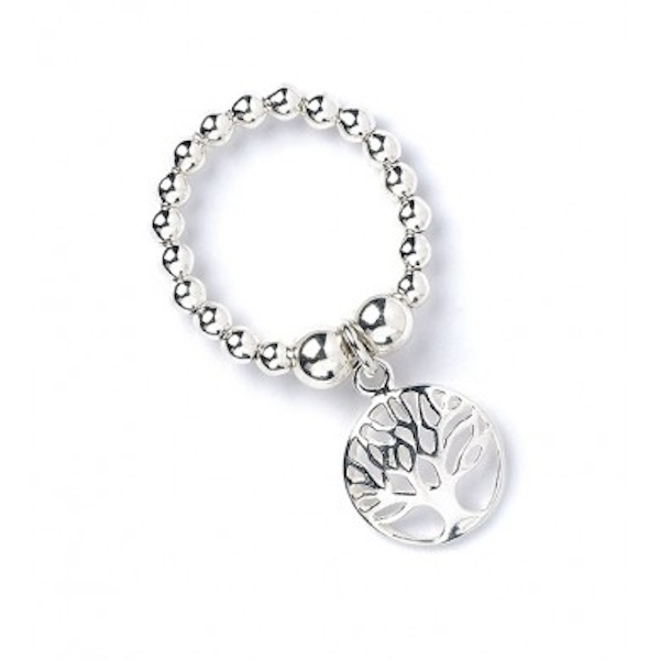 Circle Tree of Life with Sterling Silver Ball Bead Ring