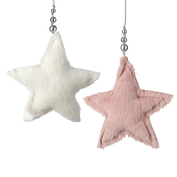 Hanging White and Pink Small Furry Stars (Set of 2) By Heaven Sends