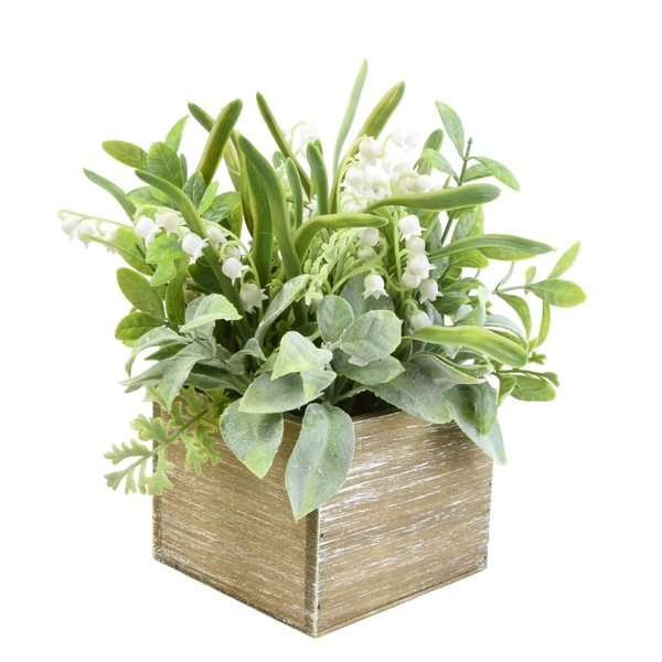 Faux Herbs and Snowdrops in Rustic Wooden Box