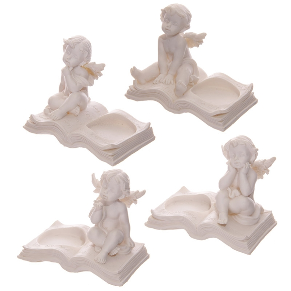 Cherub Sitting on Book (Pack Of 4) Tea Light Holder