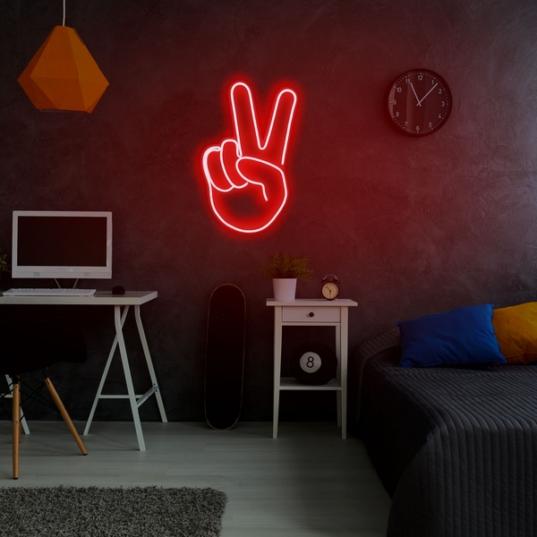 Victory Sign - Red Red Wall Lamp