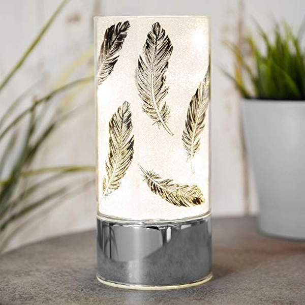 Glass Black Feather Light Tube with LEDs 9 x 20cm