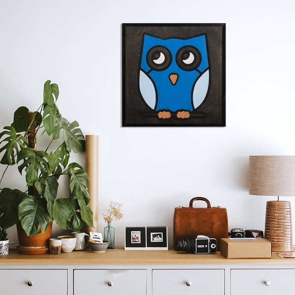 Blue Owl Black White Blue Decorative Wooden Wall Accessory