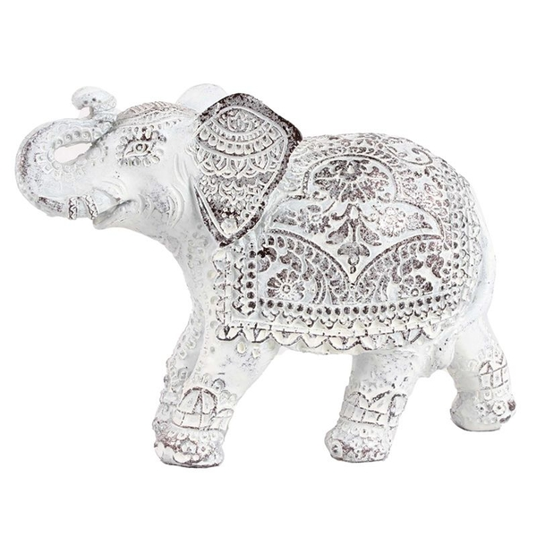 Brushed White Small Thai Elephant Figurine