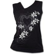 Pure of Heart Women's XX-Large Gathered Shoulder Slant Vest Top - Black
