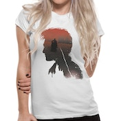 Harry Potter - Battle Silhouette Women's Large T-Shirt - White