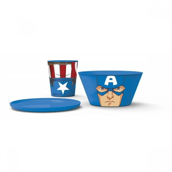 (Damaged Packaging) Captain America (Avengers) Stacking Meal Set Used - Like New - Image 2