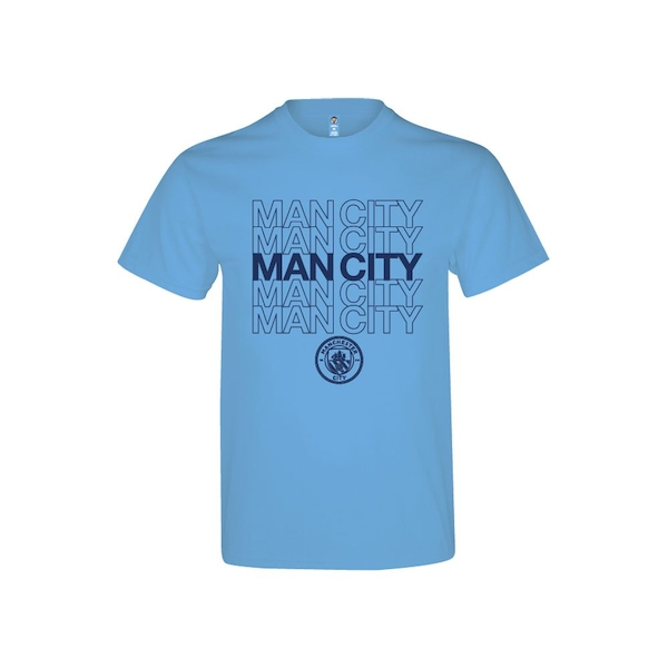 Man City Logo T Shirt Sky Blue Adults S