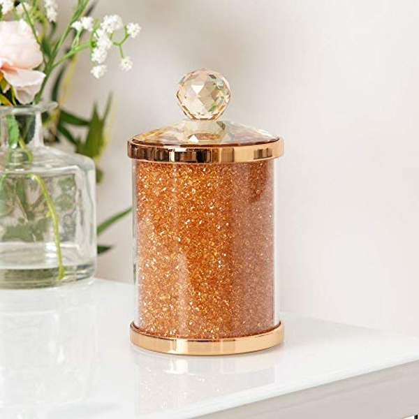 Estella Rose Gold Finish Metal, Glass & Crystal Trinket Box