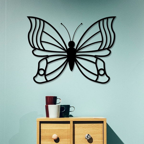 Butterfly 3 Black Decorative Metal Wall Accessory