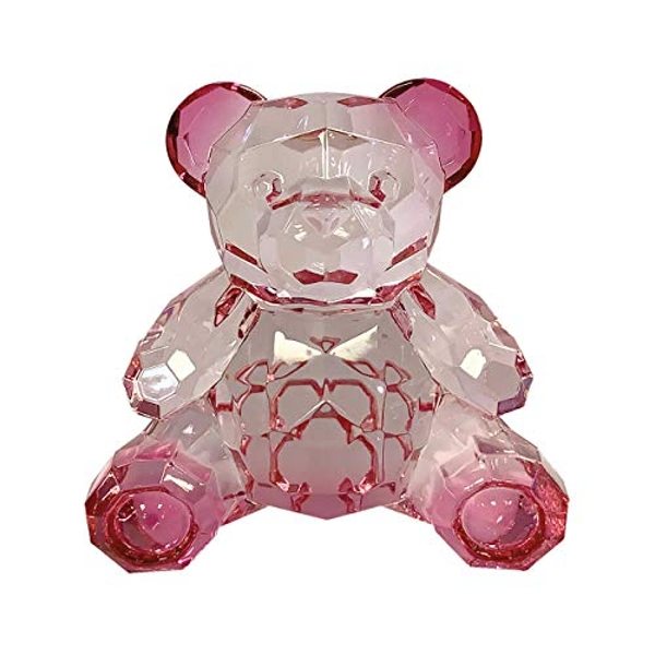 Small Acrylic Teddy Bear Two Tone Pink Ornament