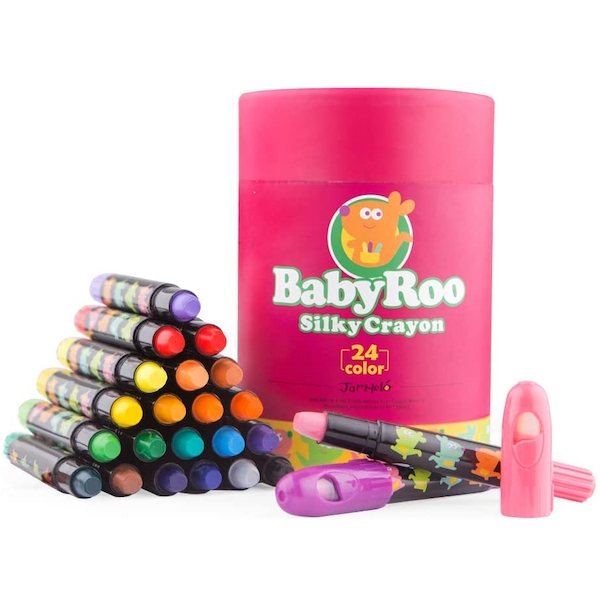 24 Coloured Washable Silky Crayons