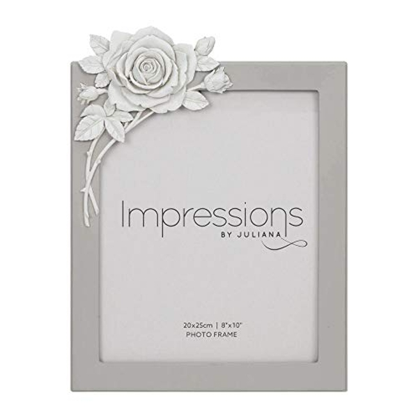"8"" x 10"" - Impressions Grey Resin Photo Frame with Rose"