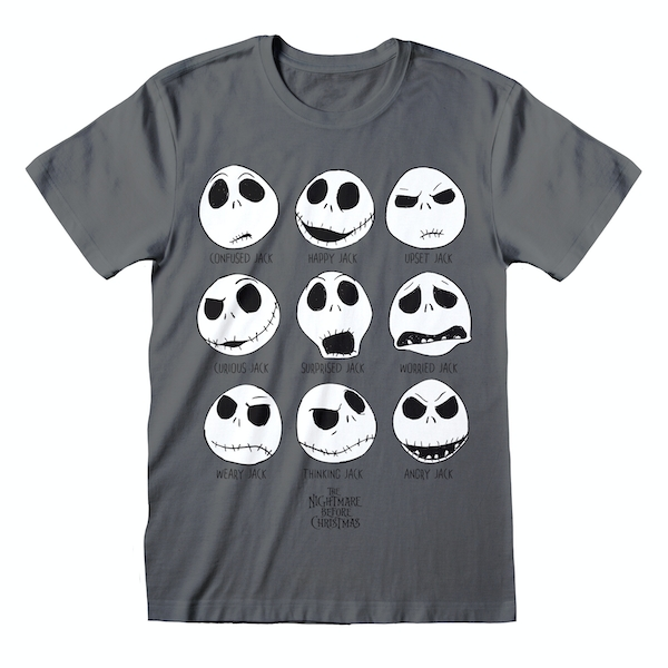Nightmare Before Christmas - Many Faces Unisex Large T-Shirt - Charcoal