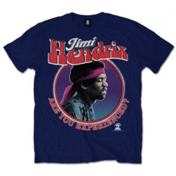 Jimi Hendrix Are You Experienced Mens Navy T Shirt: X Large