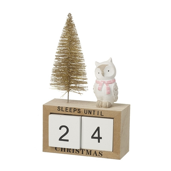Wooden Advent Countdown Calendar With Owl