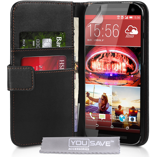YouSave Accessories HTC One M9 Leather-Effect Wallet Case - Black