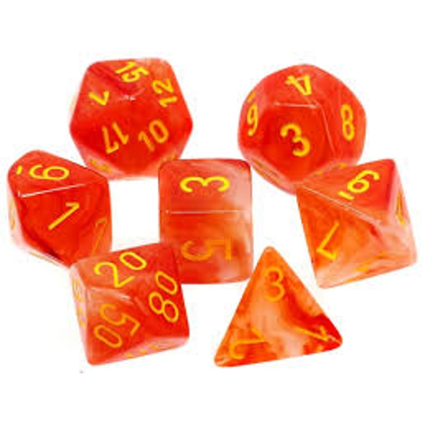 Chessex Ghostly Glow Orange/Yellow Poly 7 Dice Set