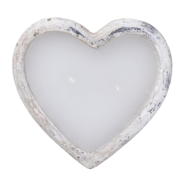 Cement Heart Shaped Wax Filled Bowl Grey/White 16.4cm