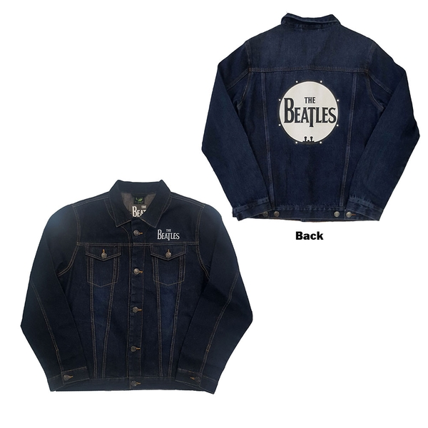 The Beatles - Drum Logo Unisex Large Denim Jacket - Blue