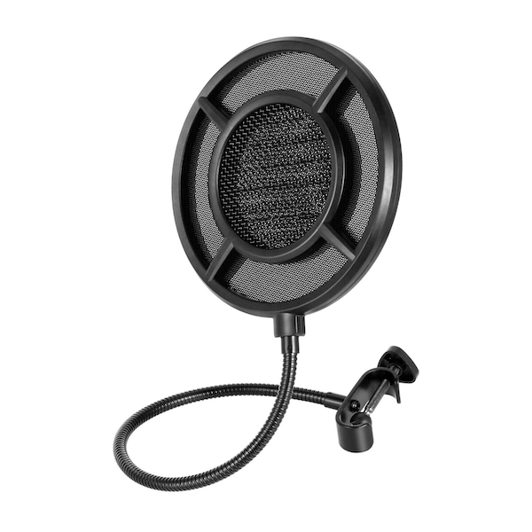 Thronmax P1 Microphone Pop Filter - Dual Layer Steel and Nylon Mesh, Curved Shield Design