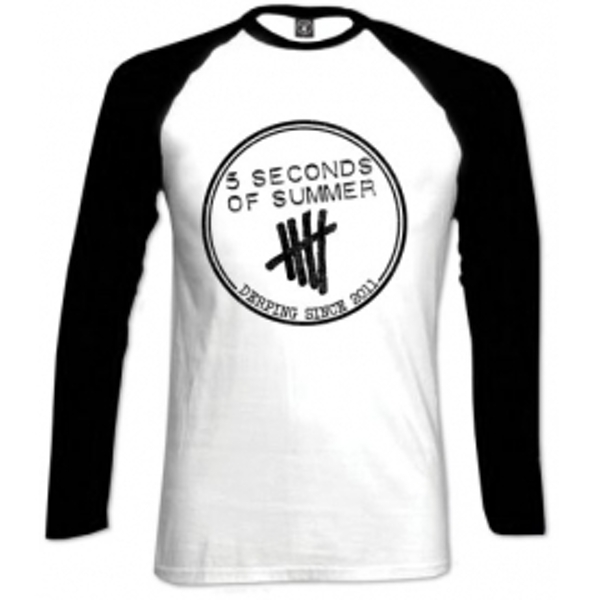 5 Seconds Of Summer Derping Stamp Raglan White Blk: X Large