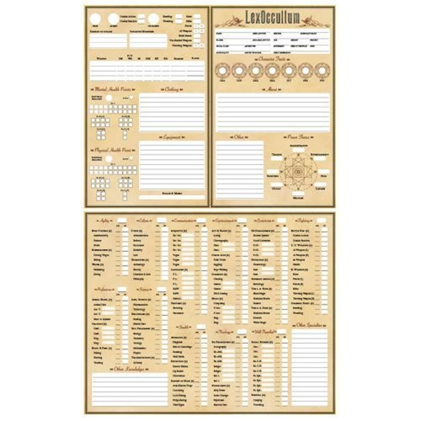 LexOccultum RPG: Character Sheets
