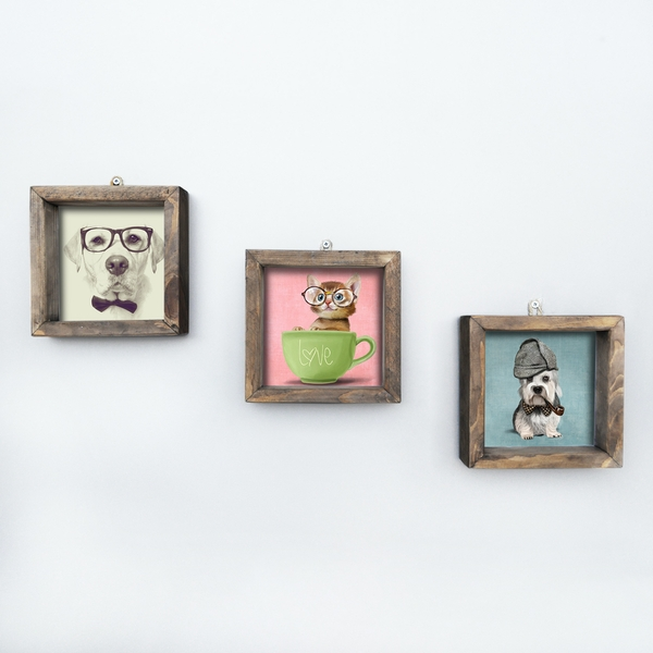 UKZM017 Multicolor Decorative Framed MDF Painting (3 Pieces)