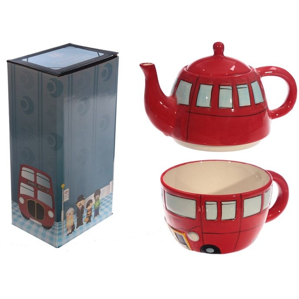 Fun Novelty Routemaster Red Bus Teapot and Cup