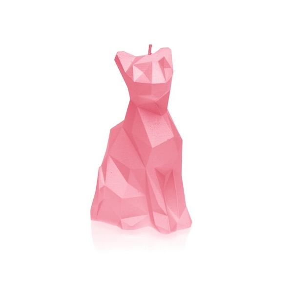 Pink Metallic Low Poly Cat Candle
