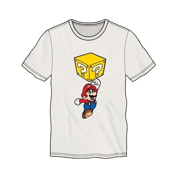 Nintendo Super Mario Bros. Mario Breaking Block Mens Large White T-Shirt