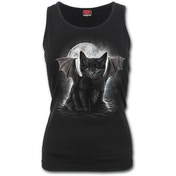 Bat Cat Women's Large Razor Back Top - Black