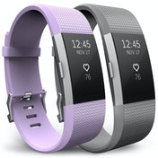 Yousave Fitbit Charge 2 Strap 2-Pack (Large) - Lilac/Grey