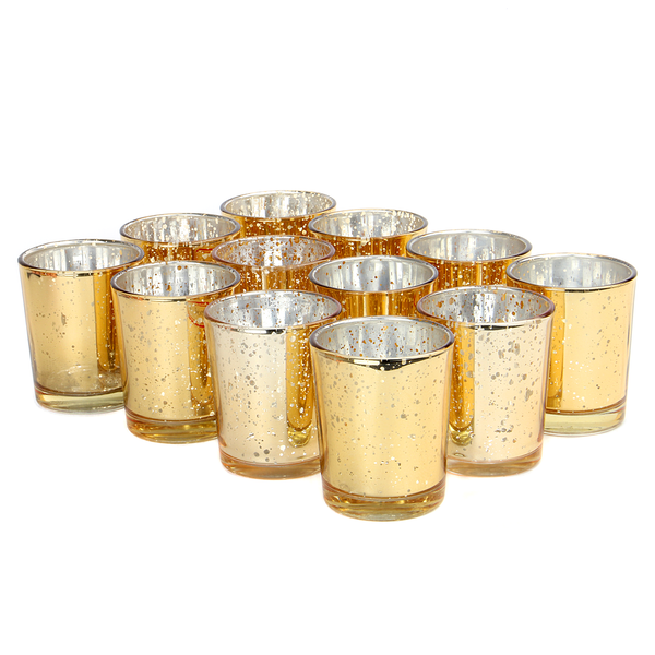 Set of 12 Speckled Tealight Candle Holders | M&W Gold - Image 1