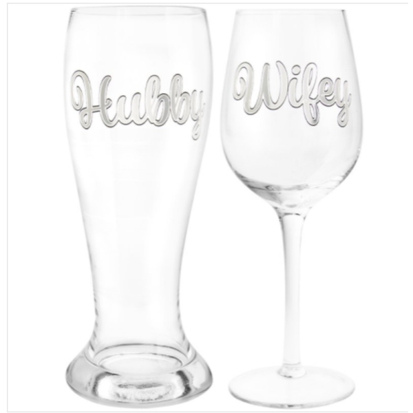 Hubby & Wifey Beer & Wine Glass By Lesser & Pavey
