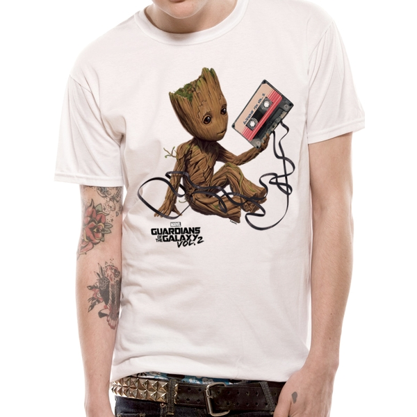 Guardians Of The Galaxy 2 - Unisex Groot & Tape T-Shirt (White)