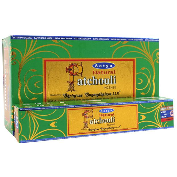 Box of 12 Packs of Natural Patchouli Incense Sticks by Satya